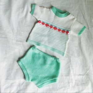 Other - Vintage baby gender neutral knit outfit two piece